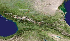 Карта Кавказских гор