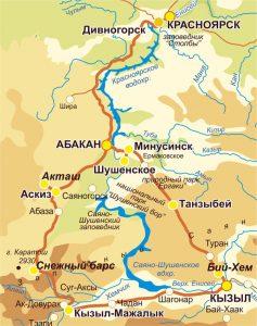 Карта Хакасии, Тувы, Красноярска