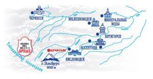 Карта Кавказских минеральных вод